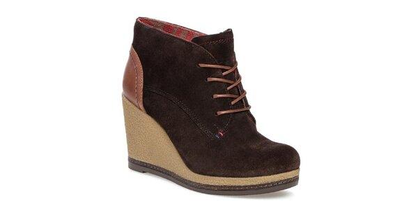 Dámské tmavě hnědé boty na platformě Tommy Hilfiger