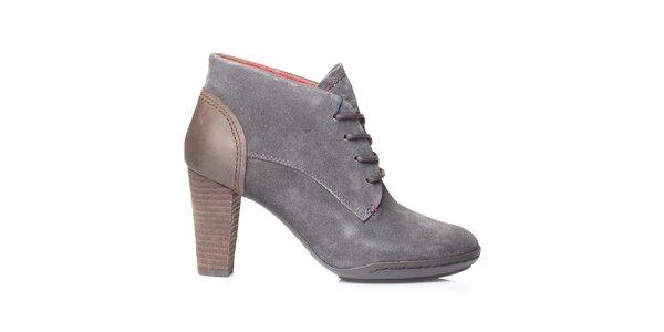 Dámské šedé kotníkové boty na podpatku Tommy Hilfiger