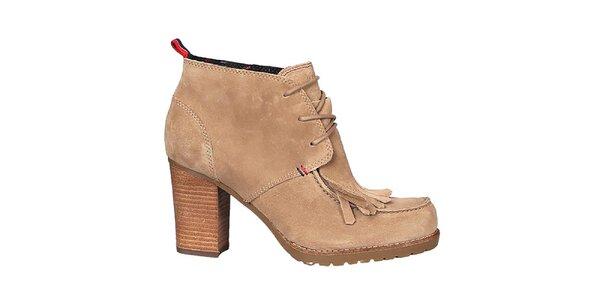 Dámské béžové kotníkové boty Tommy Hilfiger