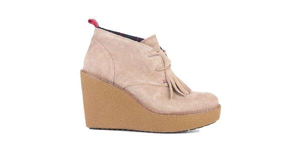 Dámské béžové boty na platformě s třásněmi Tommy Hilfinger