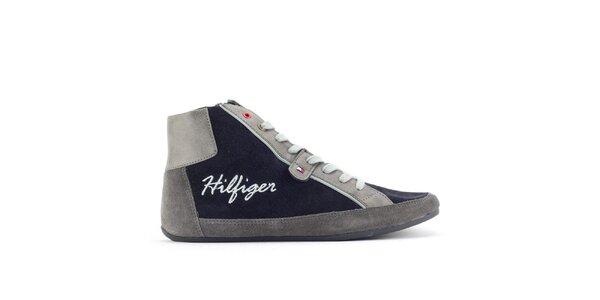Dámské šedo-modré kotníkové tenisky Tommy Hilfiger