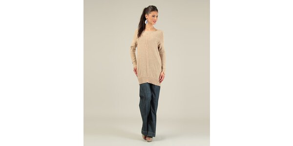 Dámský karamelový svetr s překříženými zády Lili Lovely