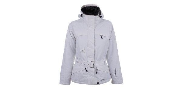 Dámská bílá zimní bunda s kožíškem a páskem Joluvi