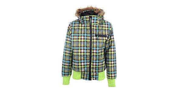 Dámská barevně kostkovaná bunda s kapucí Joluvi
