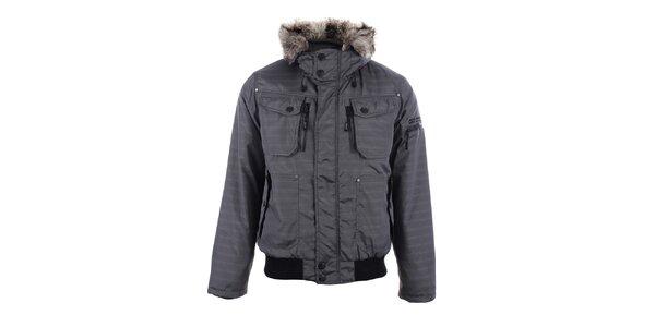 Pánská šedá zimní bunda s kožíškem Joluvi