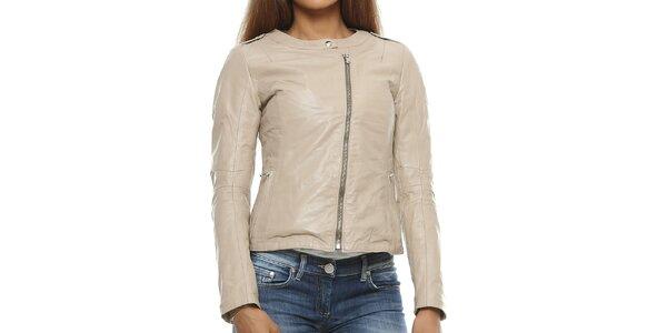 Dámská béžová kožená bunda s asymterickým zipem Mangotti