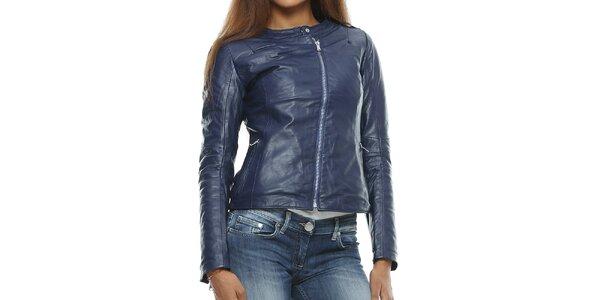 Dámská tmavě modrá kožená bunda s asymterickým zipem Mangotti