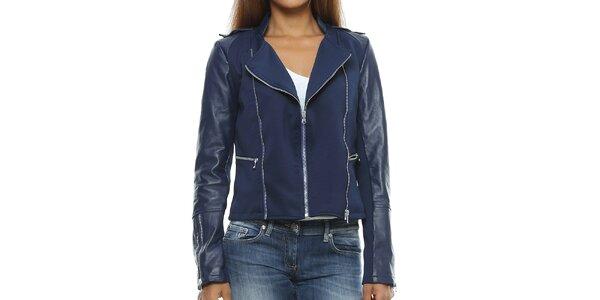 Dámská tmavě modrá bunda s koženými rukávy Mangotti