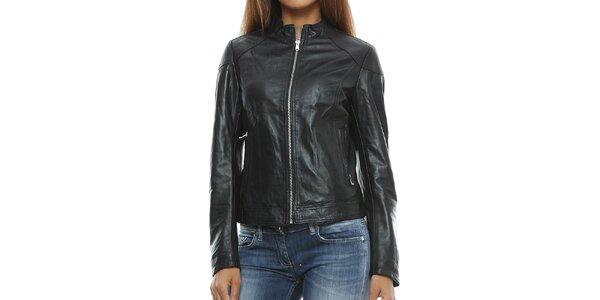 Dámská černá kožená bunda se stojáčkem Mangotti