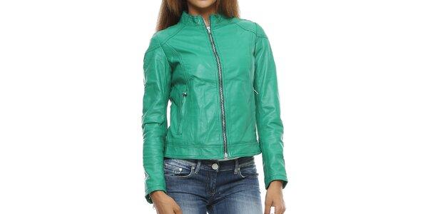 Dámská zelená kožená bunda se stojáčkem Mangotti