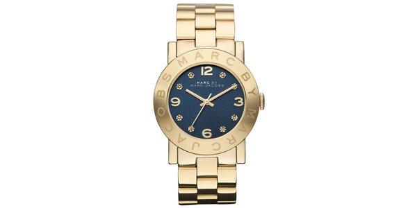 Dámské pozlacené ocelové hodinky s tmavým ciferníkem Marc Jacobs