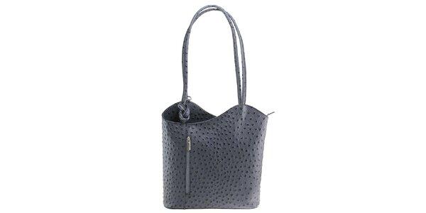 Dámská šedá kožená kabelka s reliéfním vzorem Florence Bags