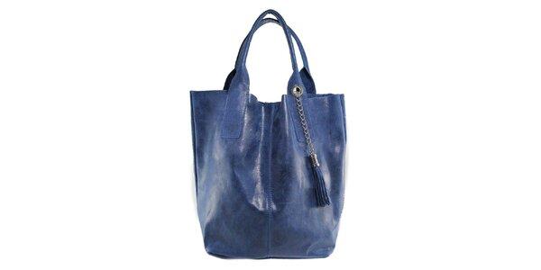 Dámská modrá kožená kabelka s třásní Florence Bags