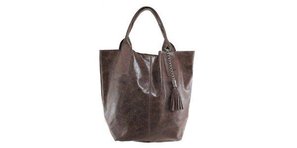 Dámská kaštanová kožená kabelka s třásní Florence Bags
