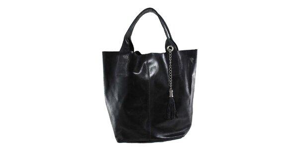 Dámská černá kožená kabelka s třásní Florence Bags