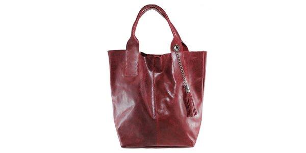 Dámská červená kožená kabelka s třásní Florence Bags