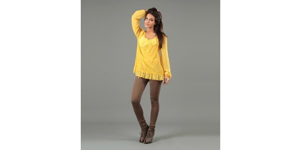 Dámská žlutá halenka s dlouhými rukávy Anabelle