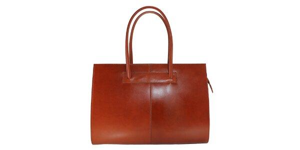 Dámská světle hnědá kožená kabelka s delšími poutky Florence Bags