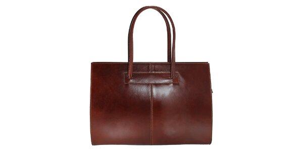 Dámská tmavě hnědá kožená kabelka s delšími poutky Florence Bags