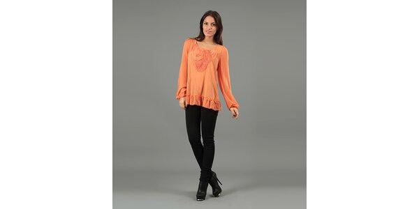 Dámská oranžová halenka s dlouhými rukávy Anabelle