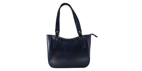 Dámská tmavě modrá kožená kabelka s dlouhými poutky Florence Bags