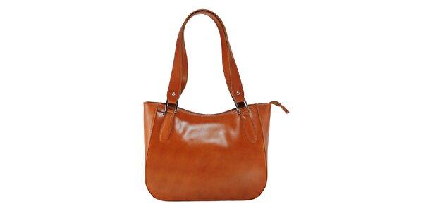 Dámská světle hnědá kožená kabelka s dlouhými poutky Florence Bags