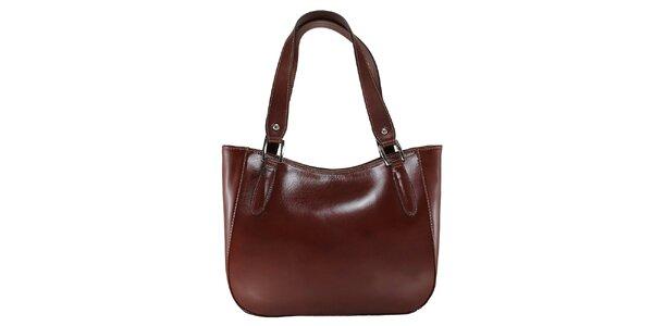 Dámská tmavě hnědá kožená kabelka s dlouhými poutky Florence Bags
