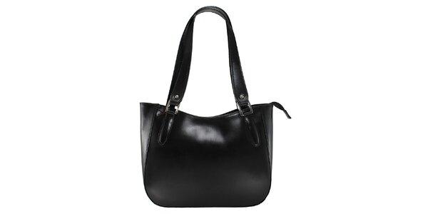 Dámská černá kožená kabelka s dlouhými poutky Florence Bags