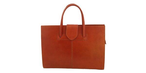 Dámská světle hnědá kožená obdélníková kabelka s klopou Florence Bags