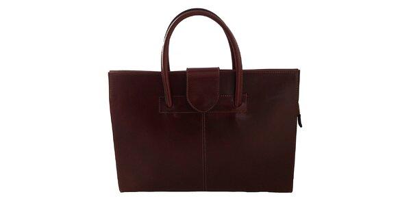 Dámská tmavě hnědá kožená obdélníková kabelka s klopou Florence Bags