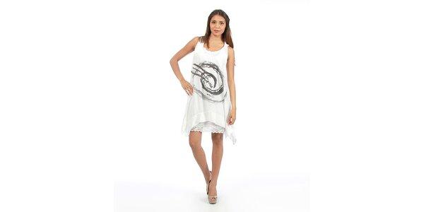 Dámské bílé šaty s velkým potiskem Anabelle
