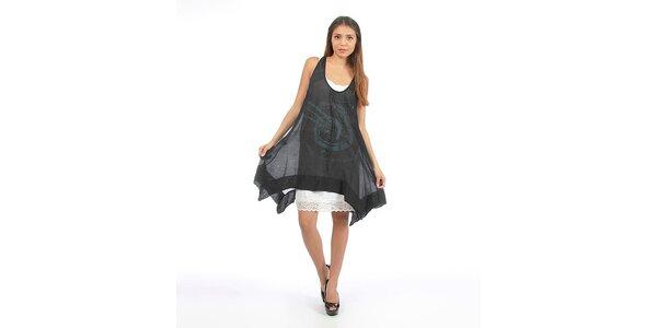 Dámské černé šaty s velkým potiskem Anabelle