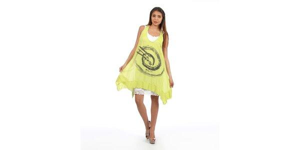 Dámské zelenožluté šaty s velkým potiskem Anabelle