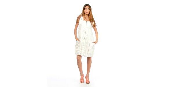 Dámské bílé šaty na zip Anabelle