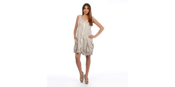 Dámské šedé šaty na zip Anabelle