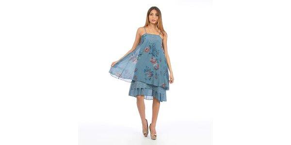 Dámské modré šaty s květinovým potiskem Anabelle