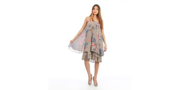 Dámské šedohnědé šaty s květinovým potiskem Anabelle