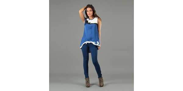 Dámská modrá tunika bez rukávů Anabelle