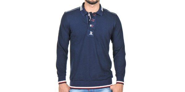 Pánské tmavě modré polo tričko s dlouhým rukávem Giorgio Di Mare