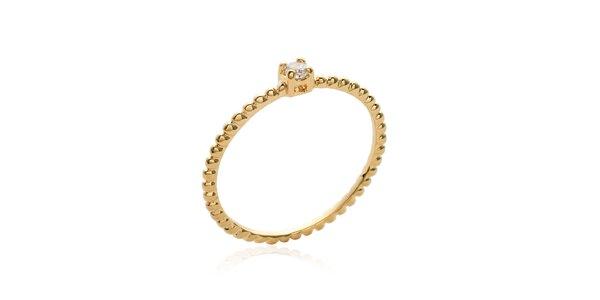 Jednoduchý pozlacený prsten s bílým zirkonem Mimossa