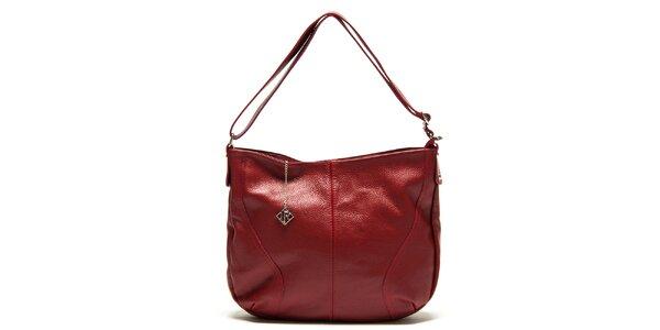 Dámská červená kožená kabelka s jedním poutkem Isabella Rhea