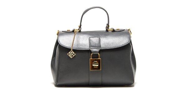 Dámská šedá kožená kabelka se zlatým zámečkem Isabella Rhea