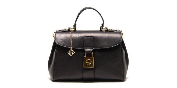 Dámská černá kožená kabelka se zlatým zámečkem Isabella Rhea