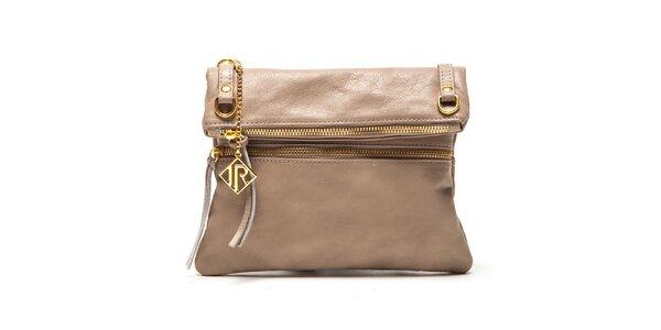 Dámská béžová kabelka se zlatými zipy Isabella Rhea