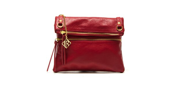Dámská červená kabelka se zlatými zipy Isabella Rhea