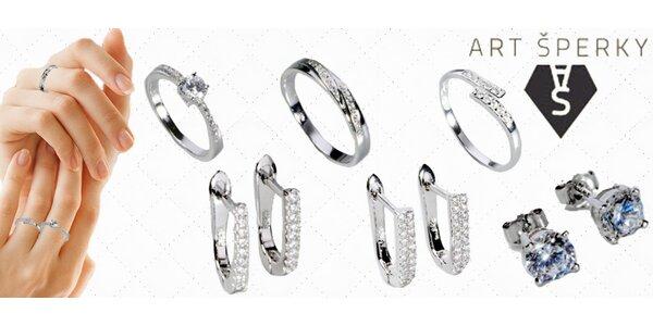 Stříbrné prsteny a náušnice se zirkony vč. dopravy