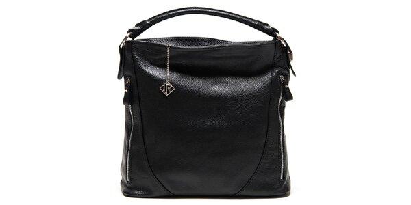 Dámská černá kožená kabelka se zipy Isabella Rhea