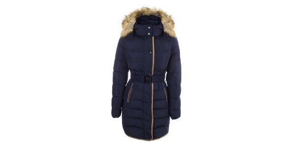 Dámský tmavě modrý kabát s páskem a kožíškem DJ85°C