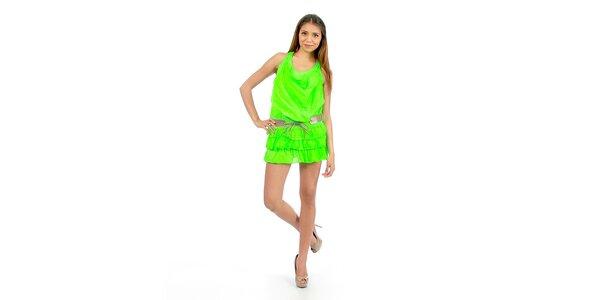 Dámské zářivě zelené minišaty Anabelle