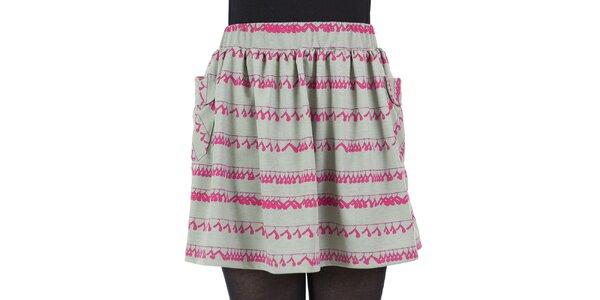 Dámská sukně s růžovým potiskem ramínek Ginger and Soul